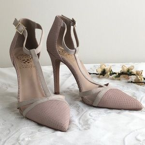 Vince Camuto Leather Dusty Rose Pointy Toe Pumps